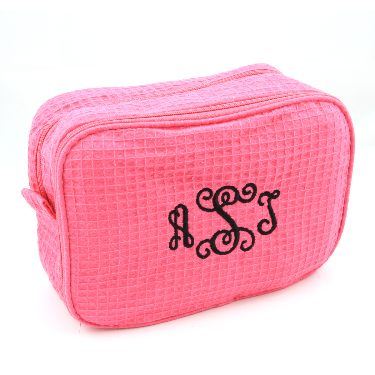 Personalized embroidered waffle cosmetic bag and i quote